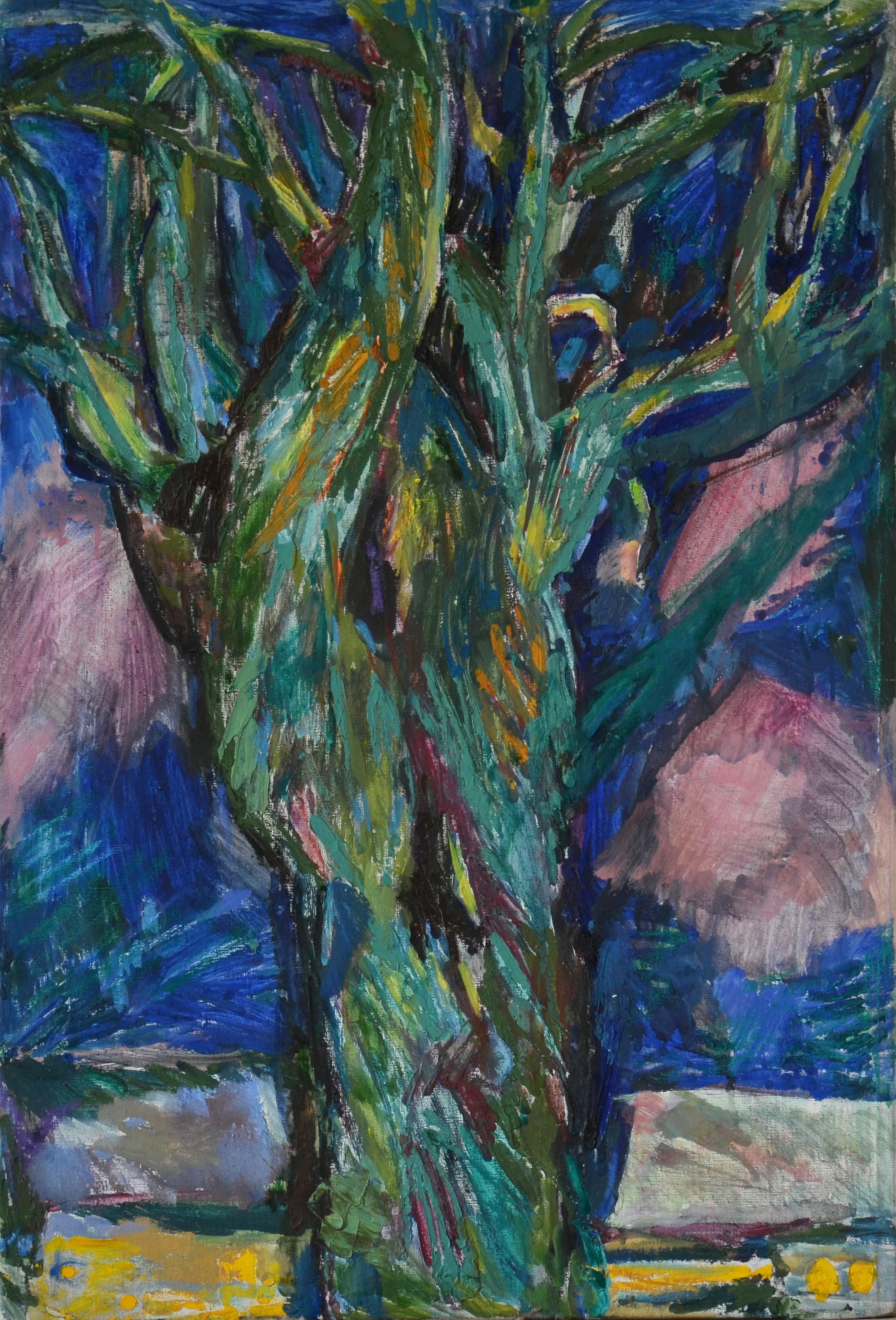 Клайпеда, дерево ночью