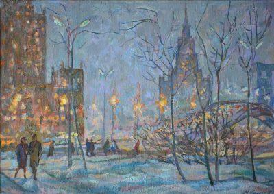Пейзаж зимней Москвы
